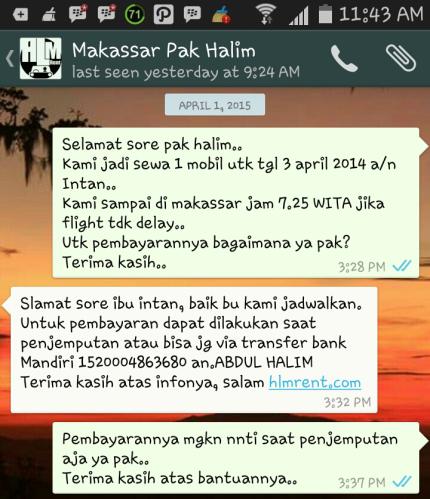 Wasapan dengan Pak Halim untuk konfirmasi